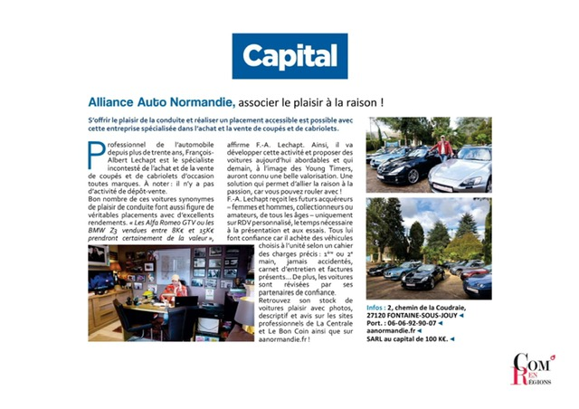 ALLIANCE AUTO NORMANDIE sur Capital